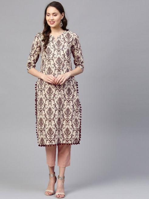 Sojanya (Since 1958) Women's Cotton Beige & Brown Printed Straight Kurta