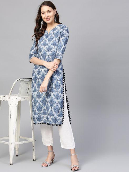 Sojanya (Since 1958) Women's Cotton Indigo Blue Printed Straight Kurta