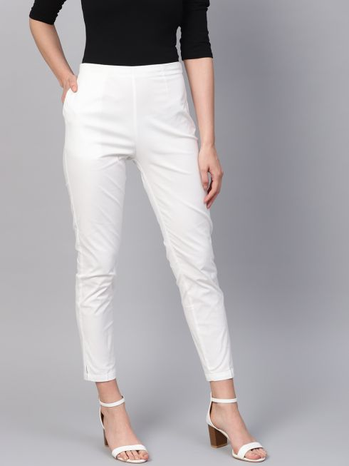 Sojanya (Since 1958), Women Cotton Off-White Slim Fit Trousers
