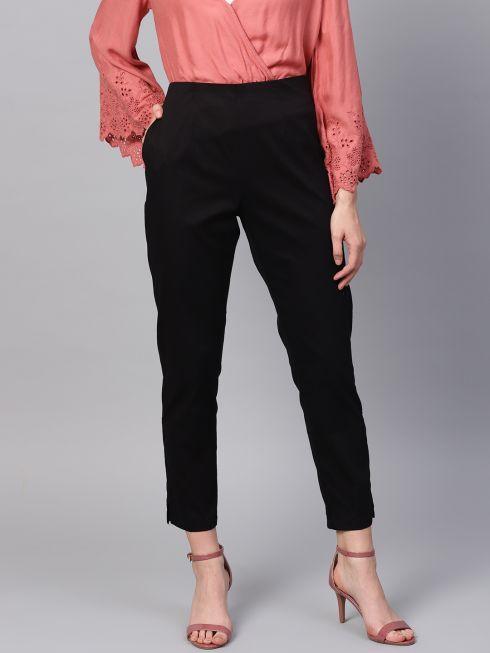 Sojanya (Since 1958), Women Cotton Black Slim Fit Trousers