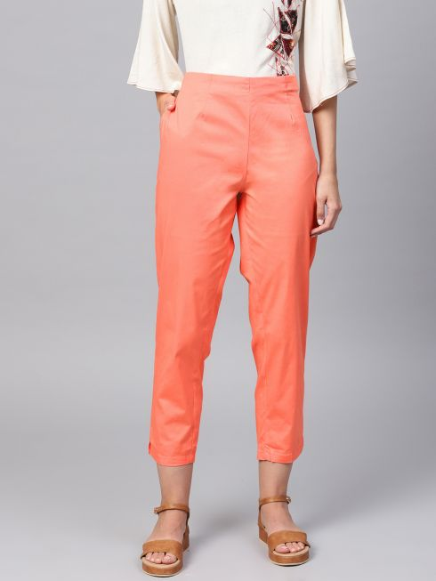 Sojanya (Since 1958), Women Cotton Peach Slim Fit Trousers