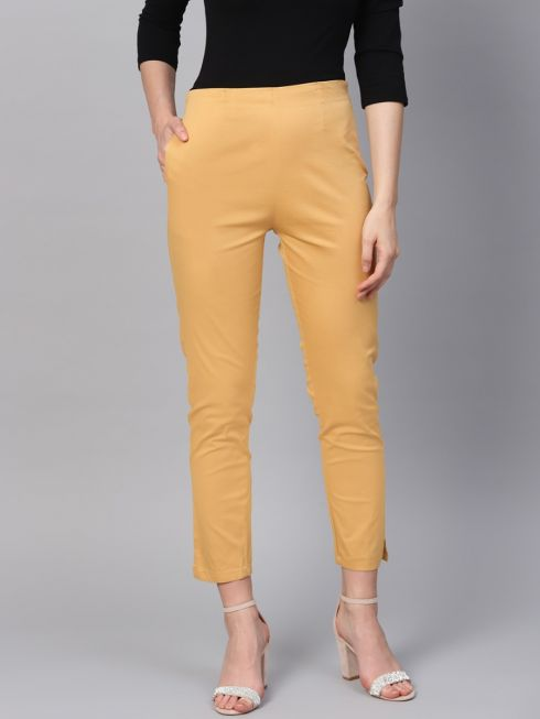Sojanya (Since 1958), Women Cotton Gold Slim Fit Trousers