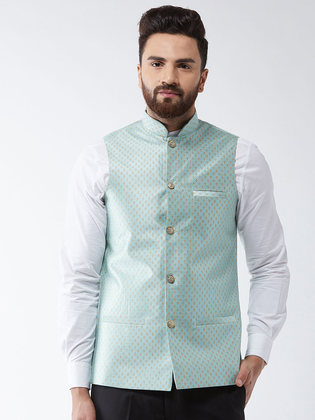 Sojanya (Since 1958) Men's Silk Blend Sea Green & Gold Self Design Nehru Jacket