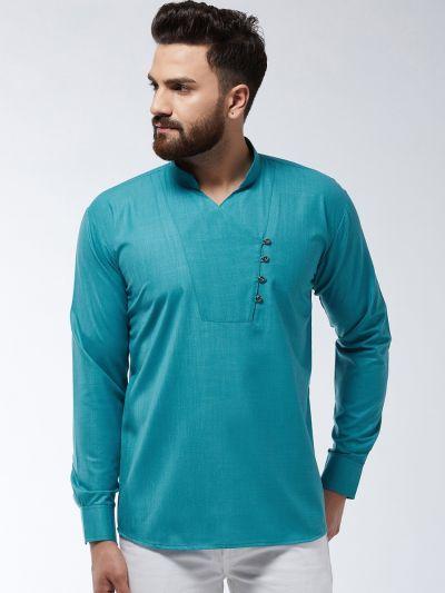 Sojanya (Since 1958) Men's Cotton Peacock Blue Solid designer Short Kurta