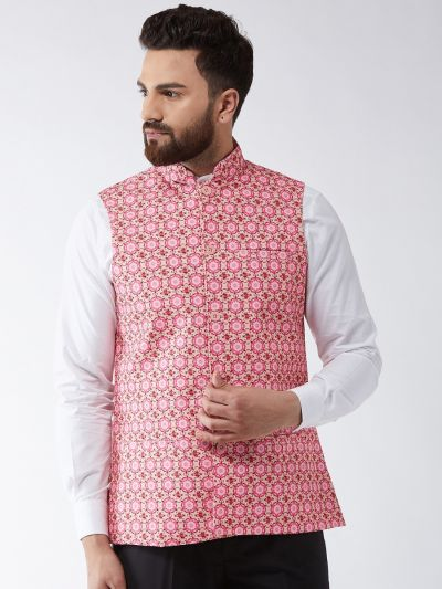 Sojanya (Since 1958) Men's Cotton Blend Peach & Pink Printed Nehru Jacket