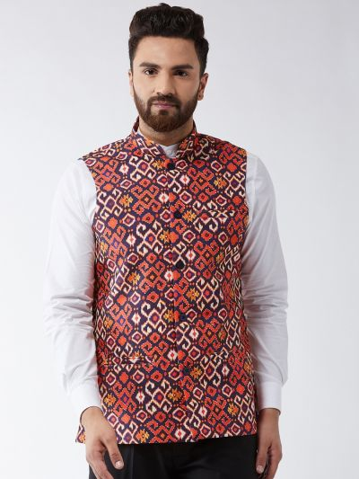 Sojanya (Since 1958) Men's Cotton Blend Navy Blue & Red Printed Nehru Jacket
