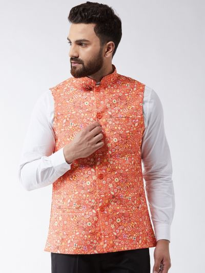 Sojanya (Since 1958) Men's Cotton Blend Dark Peach & Yellow Printed Nehru Jacket