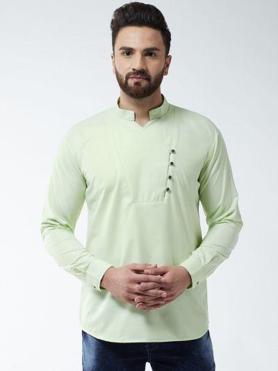 Sojanya (Since 1958) Men's Cotton Light Green Solid designer Short Kurta
