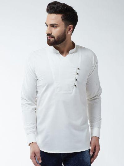 Sojanya (Since 1958) Men's Cotton Off White Solid designer Short Kurta