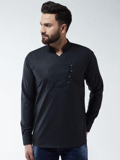 Sojanya (Since 1958) Men's Cotton Black Solid designer Short Kurta