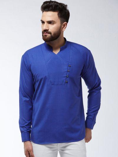 Sojanya (Since 1958) Men's Cotton Royal Blue Solid designer Short Kurta