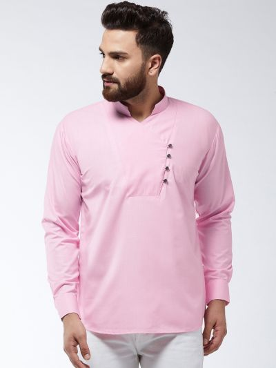 Sojanya (Since 1958) Men's Cotton Pink Solid designer Short Kurta