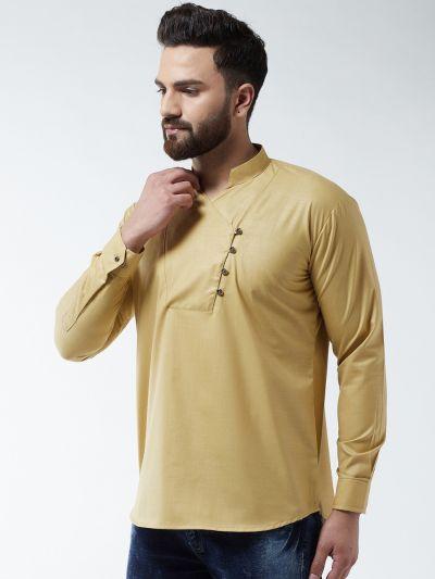 Sojanya (Since 1958) Men's Cotton Gold Solid designer Short Kurta
