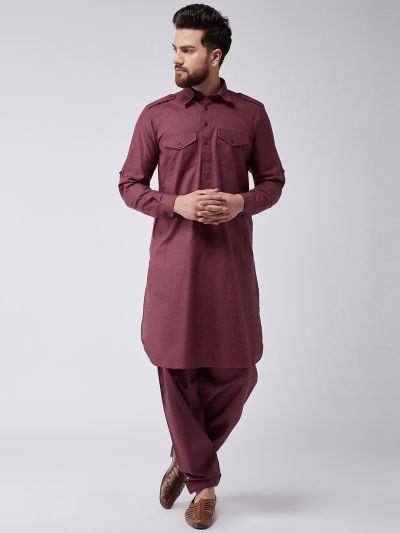 Sojanya (Since 1958) Men's Cotton Maroon Pathani Kurta Salwar Set