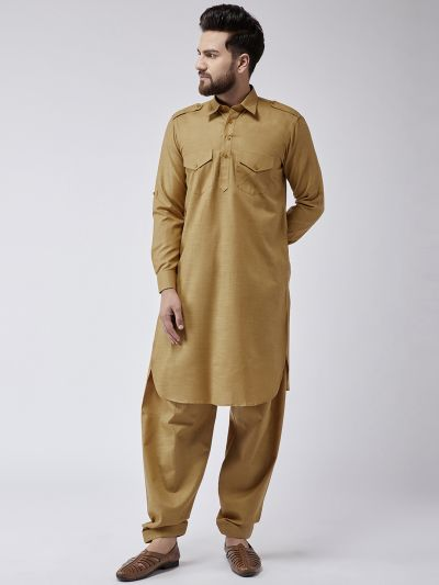 Sojanya (Since 1958) Men's Cotton Mustard Pathani Kurta Salwar Set