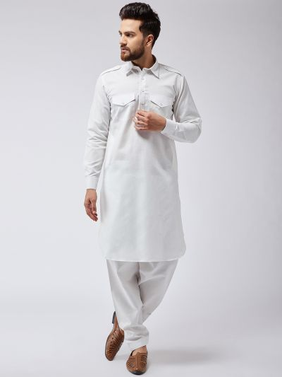 Sojanya (Since 1958) Men's Cotton Off-White Pathani Kurta Salwar Set