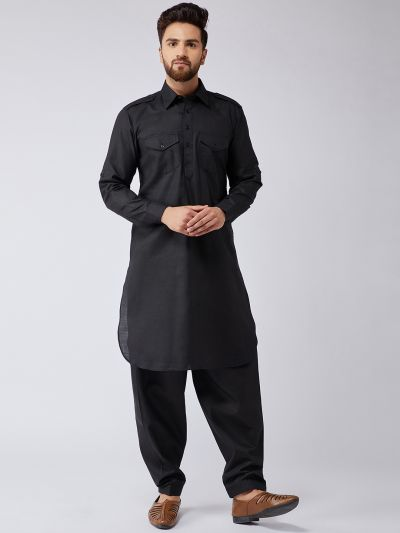 Sojanya (Since 1958) Men's Cotton Black Pathani Kurta Salwar Set