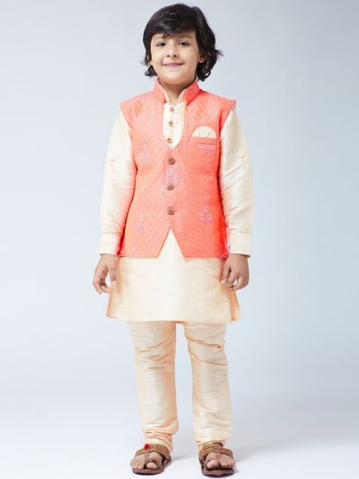 Sojanya (Since 1958) Kids Silk Blend Gold Kurta With Churidaar Pyjama & Orange Jacket Set