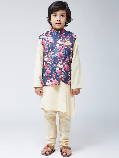 Sojanya (Since 1958), Kids Silk Cream Kurta & Blue Churidar Pyjama Set