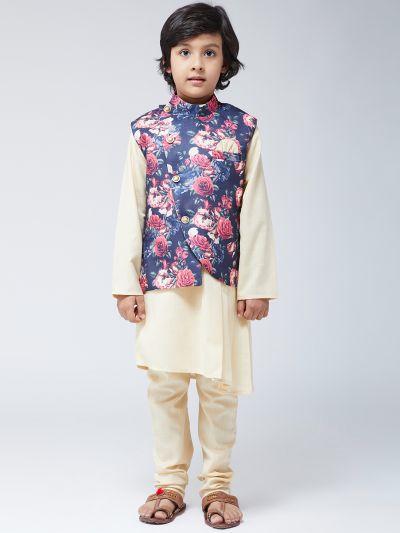Sojanya (Since 1958), Kids Silk Cream Kurta & Blue Churidar Pyjama Set