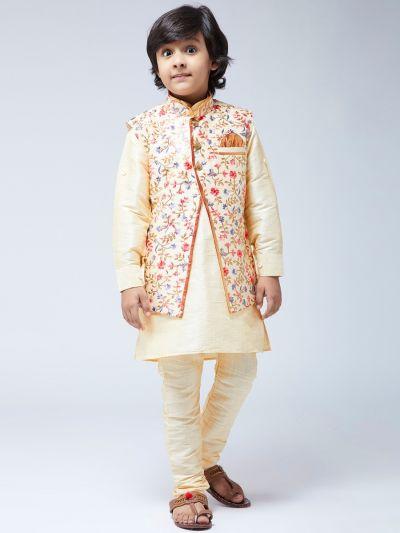 Sojanya (Since 1958) Kids Silk Blend Gold Kurta With Churidaar Pyjama & Multi-color Jacket Set