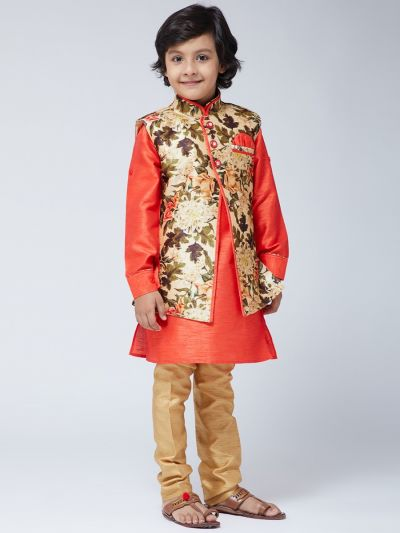 Sojanya (Since 1958) Kids Silk Blend Orange Kurta With Gold Pyjama & Multi-color Jacket Set