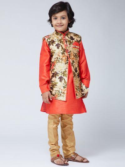 Sojanya (Since 1958) Kids Silk Blend Orange Kurta With Gold Pyjama & Multi-color Jacket Set