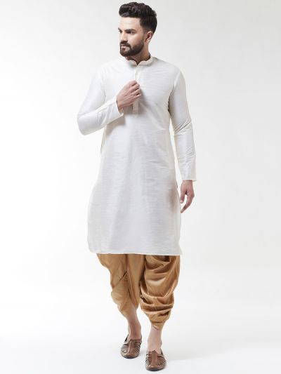 Sojanya (Since 1958), Men's Silk Blend Off White Kurta & Gold Dhoti Set