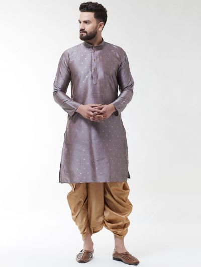 Sojanya (Since 1958), Men's Silk Blend Grey Self Design Kurta & Gold Dhoti Set
