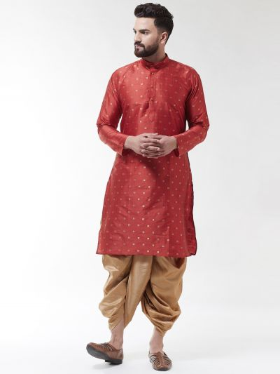Sojanya (Since 1958), Men's Silk Blend Red Self Design Kurta & Gold Dhoti Set