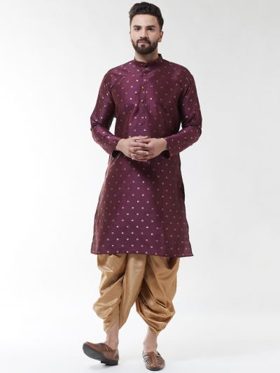 Sojanya (Since 1958), Men's Silk Blend Wine Self Design Kurta & Gold Dhoti Set
