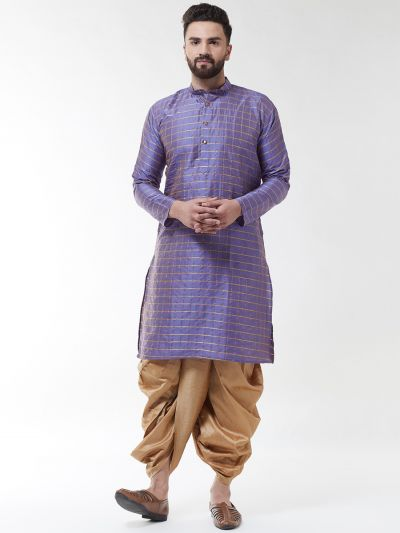 Sojanya (Since 1958), Men's Silk Blend Purple Self Design Kurta & Gold Dhoti Set