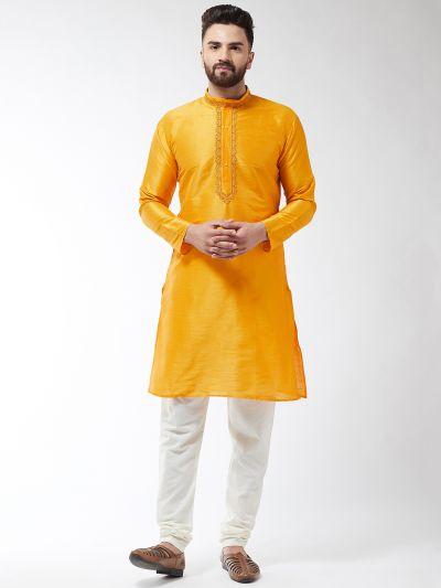 Sojanya (Since 1958), Men's Silk Blend Mustard Kurta and Off White Churidar Pyjama Set