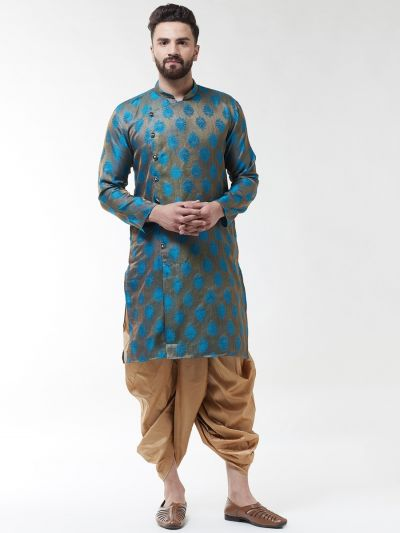 Sojanya (Since 1958), Men's Jacquard Silk Teal Blue Self Design Kurta & Gold Dhoti Set