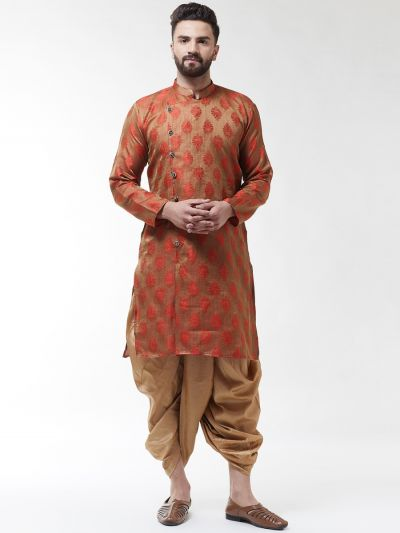 Sojanya (Since 1958), Men's Jacquard Silk Red Self Design Kurta & Gold Dhoti Set