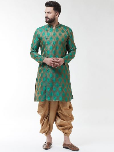Sojanya (Since 1958), Men's Jacquard Silk Green Self Design Kurta & Gold Dhoti Set