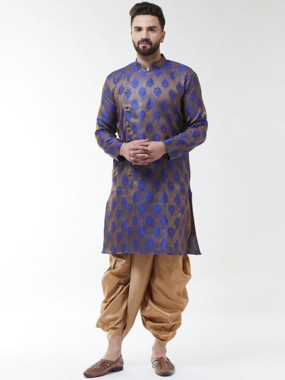 Sojanya (Since 1958), Men's Jacquard Silk Blue Self Design Kurta & Gold Dhoti Set