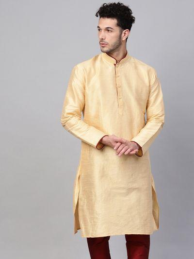 Sojanya (Since 1958), Men's Silk Blend Gold Only Long Kurta