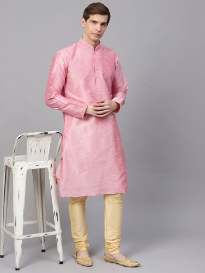 Sojanya (Since 1958), Men's Silk Blend Pink Only Long Kurta