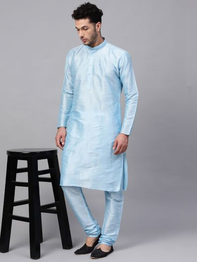 Sojanya (Since 1958), Men's Silk Blend Sky Blue Only Long Kurta