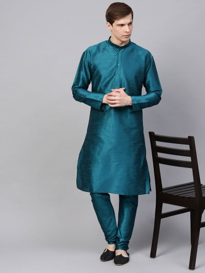 Sojanya (Since 1958), Men's Silk Blend Teal Green Only Long Kurta