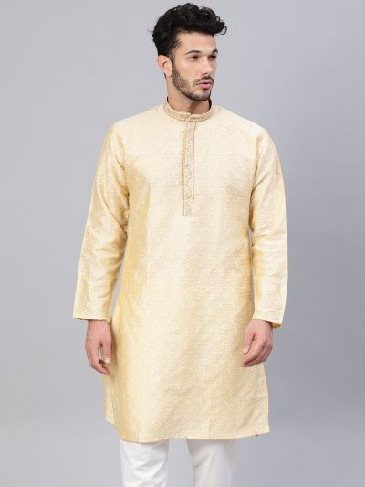 Sojanya (Since 1958), Men's Silk Blend Gold Self Design ONLY Long Kurta