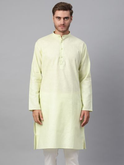 Sojanya (Since 1958), Men's Cotton Linen Blend Lime Green Solid ONLY Long Kurta
