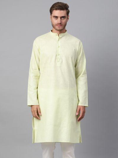 Sojanya (Since 1958), Men's Cotton Linen Blend Lime Green Solid ONLY Long Kurta