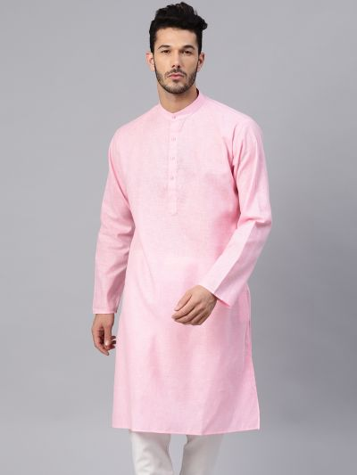 Sojanya (Since 1958), Men's Cotton Linen Blend Pink Solid ONLY Long Kurta