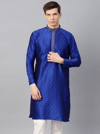 Sojanya (Since 1958), Men's Silk Blend Royal Blue Self Design ONLY Long Kurta