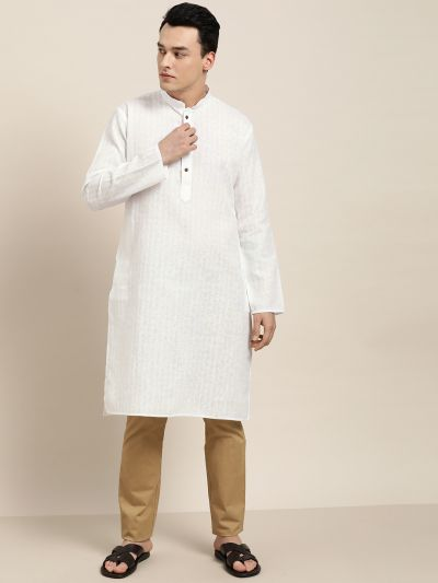 Sojanya (Since 1958), Men's Cotton Blend White Woven Design ONLY Long Kurta