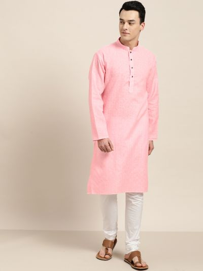 Sojanya (Since 1958), Men's Cotton Blend Pink Woven Design ONLY Long Kurta