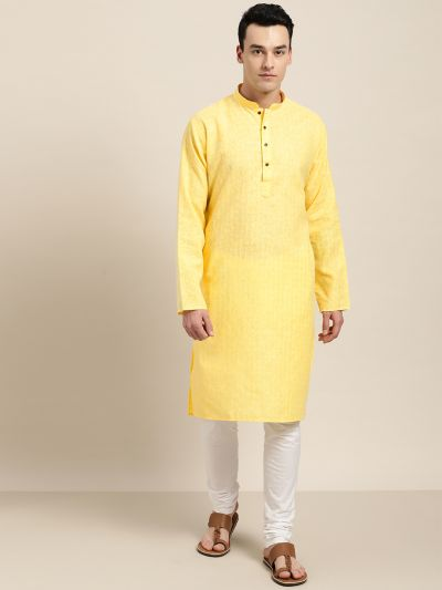 Sojanya (Since 1958), Men's Cotton Blend Yellow Woven Design ONLY Long Kurta