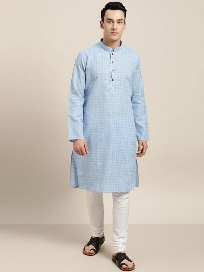Sojanya (Since 1958), Men's Cotton Blend Blue Woven Design ONLY Long Kurta